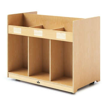 Mobile double sided library book cabinet and connector bench from Whitney Brothers