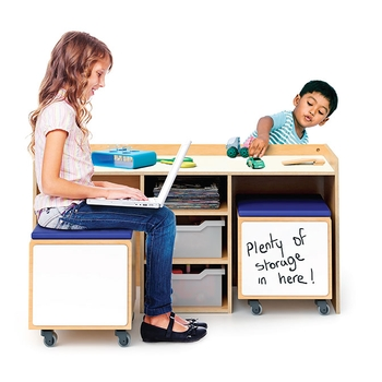 Activity desk and mobile bin set from Whitney Brothers